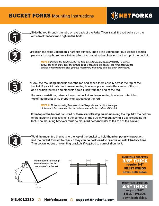 bucket fork instructions - Fork Mounted Buckets